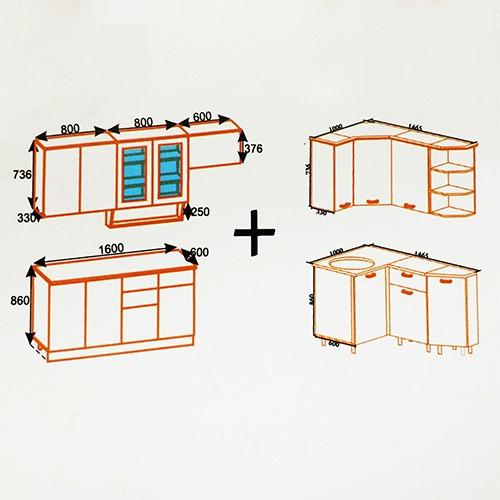 """Угловая кухня """"Сакура-3"""" (Правый вариант)"""