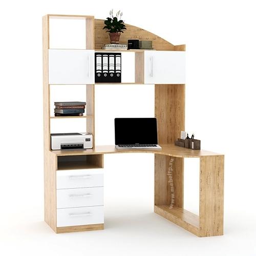 Угловой компьютерный стол с надстройкой и шкафчиками Капитан-1