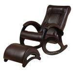 Кресло-качалка с подставкой Джаз Экокожа (Chocolate)