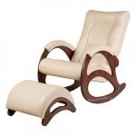 Кресло-качалка с подставкой Джаз Экокожа (Cream)